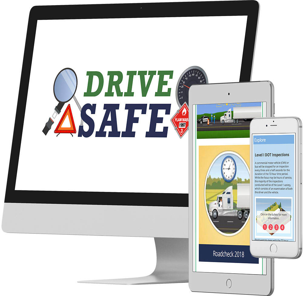 Mockup of Drive Safe RoadCheck 2018 screens